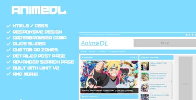 AnimeDL – HTML5 Anime Download Template
