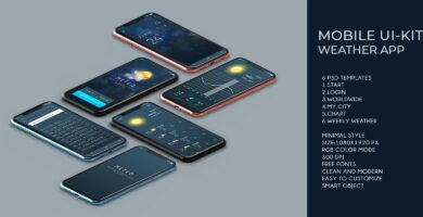 Mobile UI Kit Weather App – 6 PSD Templates