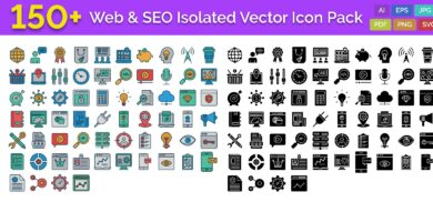 150 Web and SEO Isolated Vector Icons Pack