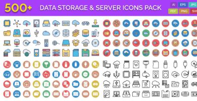 500 Data Storage & Server Vector Icons Pack