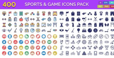 400 Sports And Game Outline Vector Icons Pack