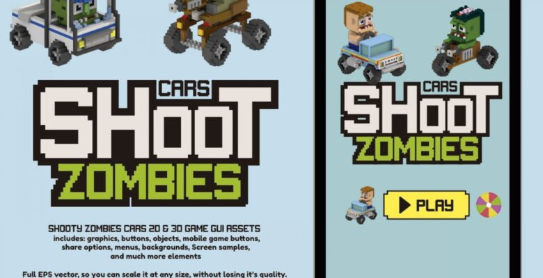 Shoot Zombies Cars 2D And 3D Game Assets
